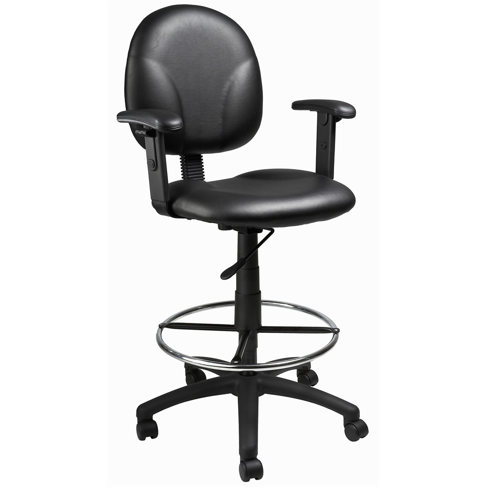 Boss Black Caressoft Drafting Stools W/Adj Arms & Footring. Picture 1