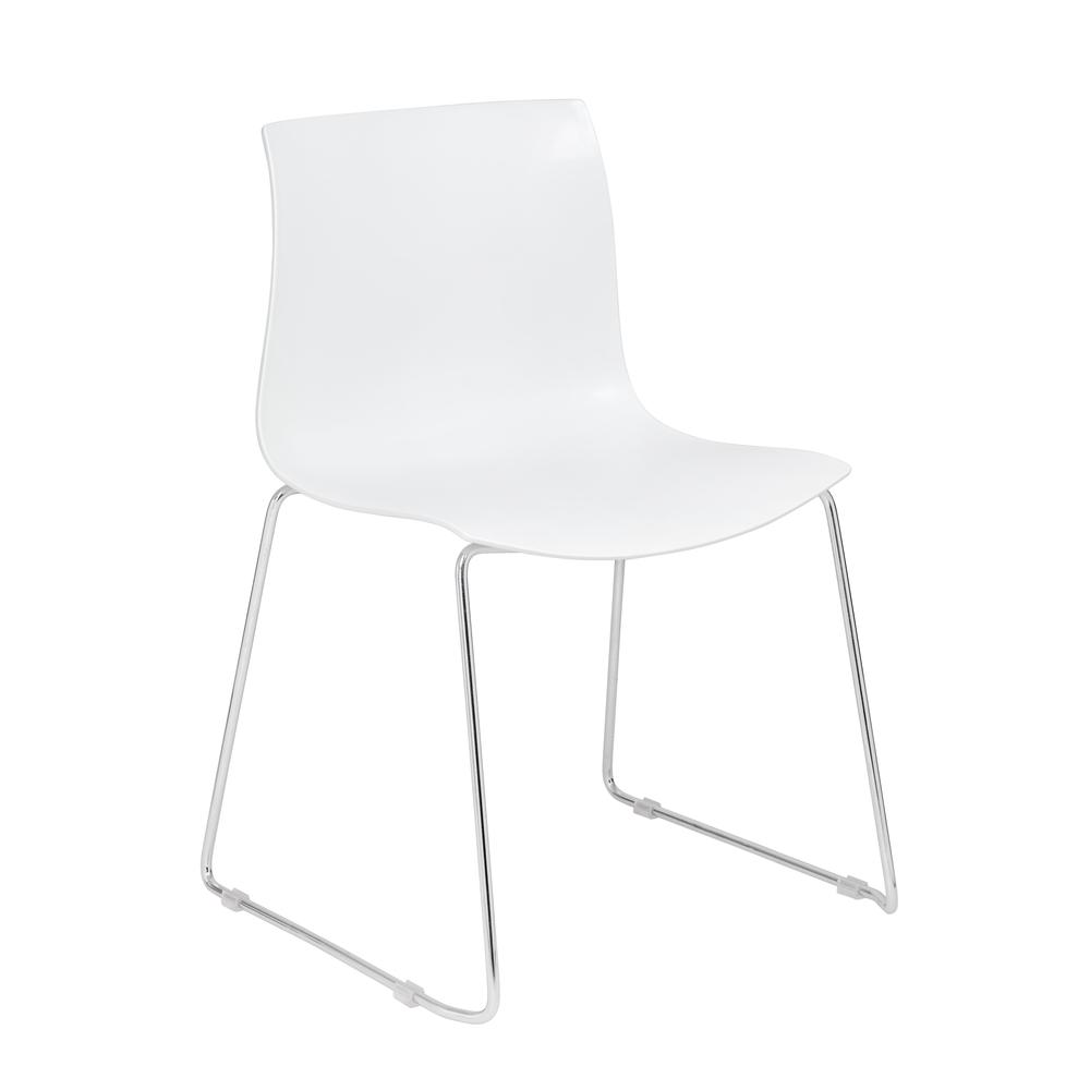 Boss White Guest Chair With Chrome Frame 4 Pcs Pack. Picture 1