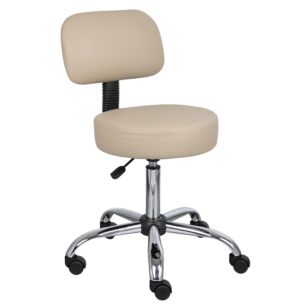 Boss Beige Caressoft Medical Stool W/ Back Cushion. Picture 1