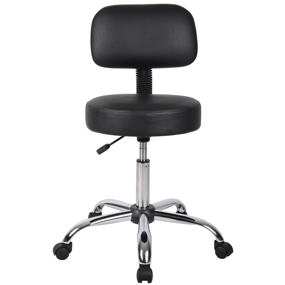 Boss Black Caressoft Medical Stool W Back Cushion