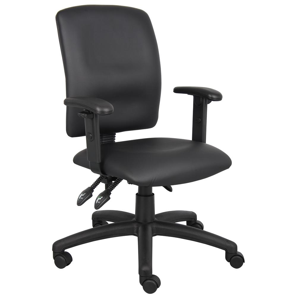 Boss Multi Function Leatherplus Task Chair W Adjustable Arms