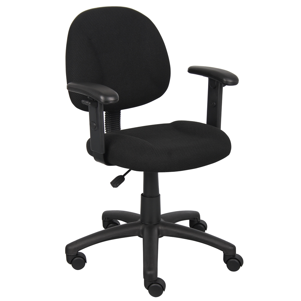Boss Black  Deluxe Posture Chair W/ Adjustable Arms. Picture 1