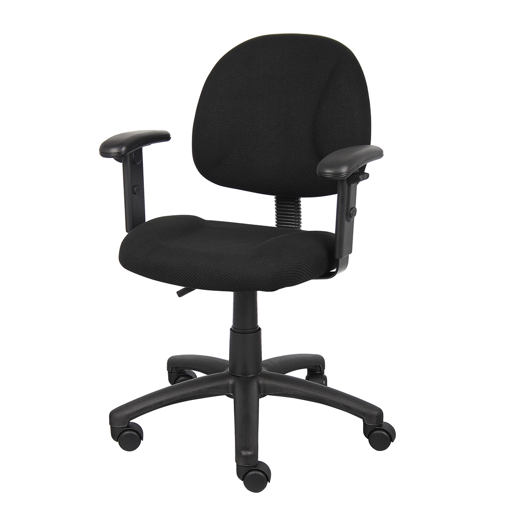 Boss Black  Deluxe Posture Chair W/ Adjustable Arms. Picture 4