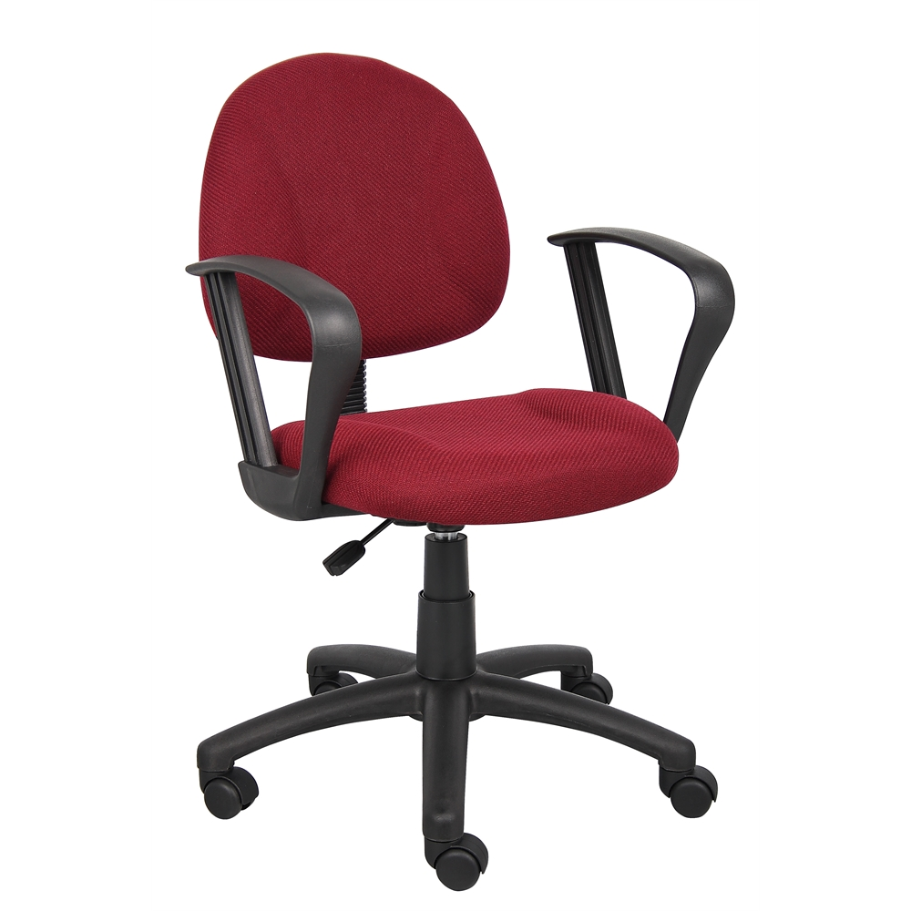 Boss Burgundy  Deluxe Posture Chair W/ Loop Arms. Picture 6