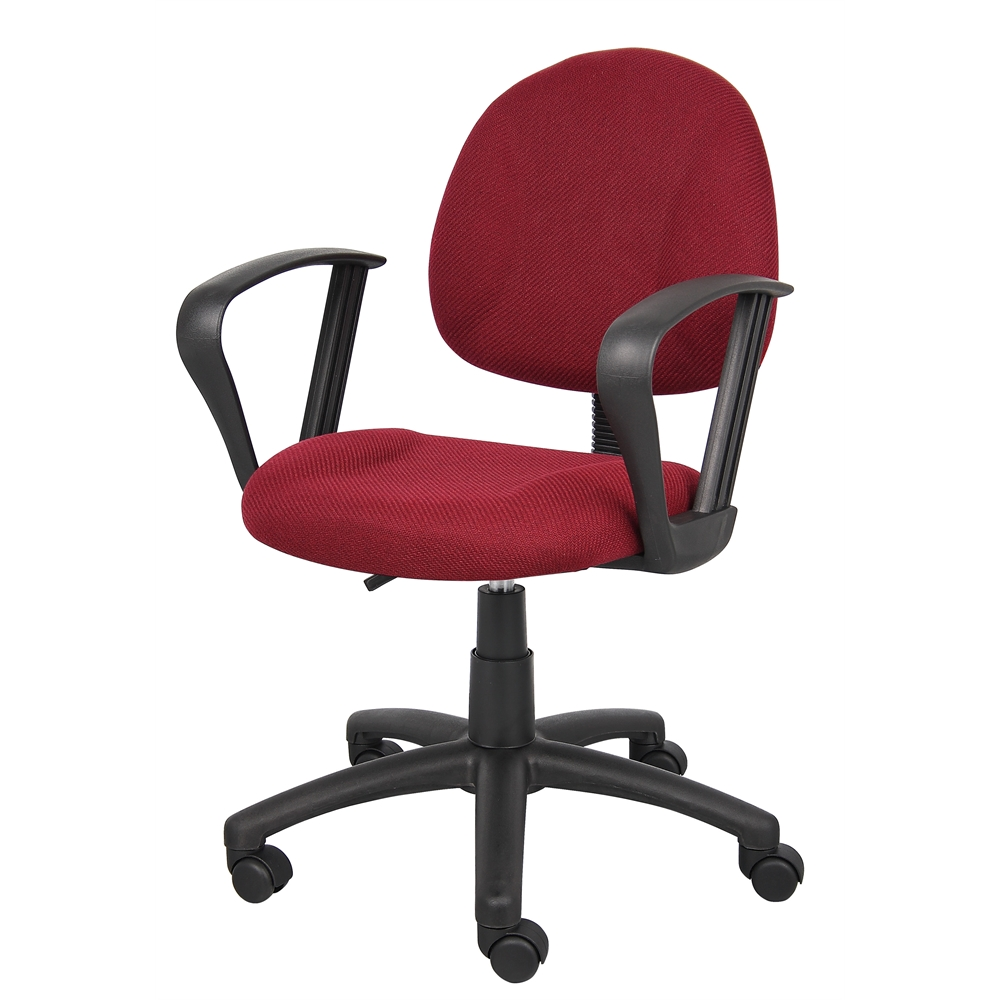 Boss Burgundy  Deluxe Posture Chair W/ Loop Arms. Picture 3