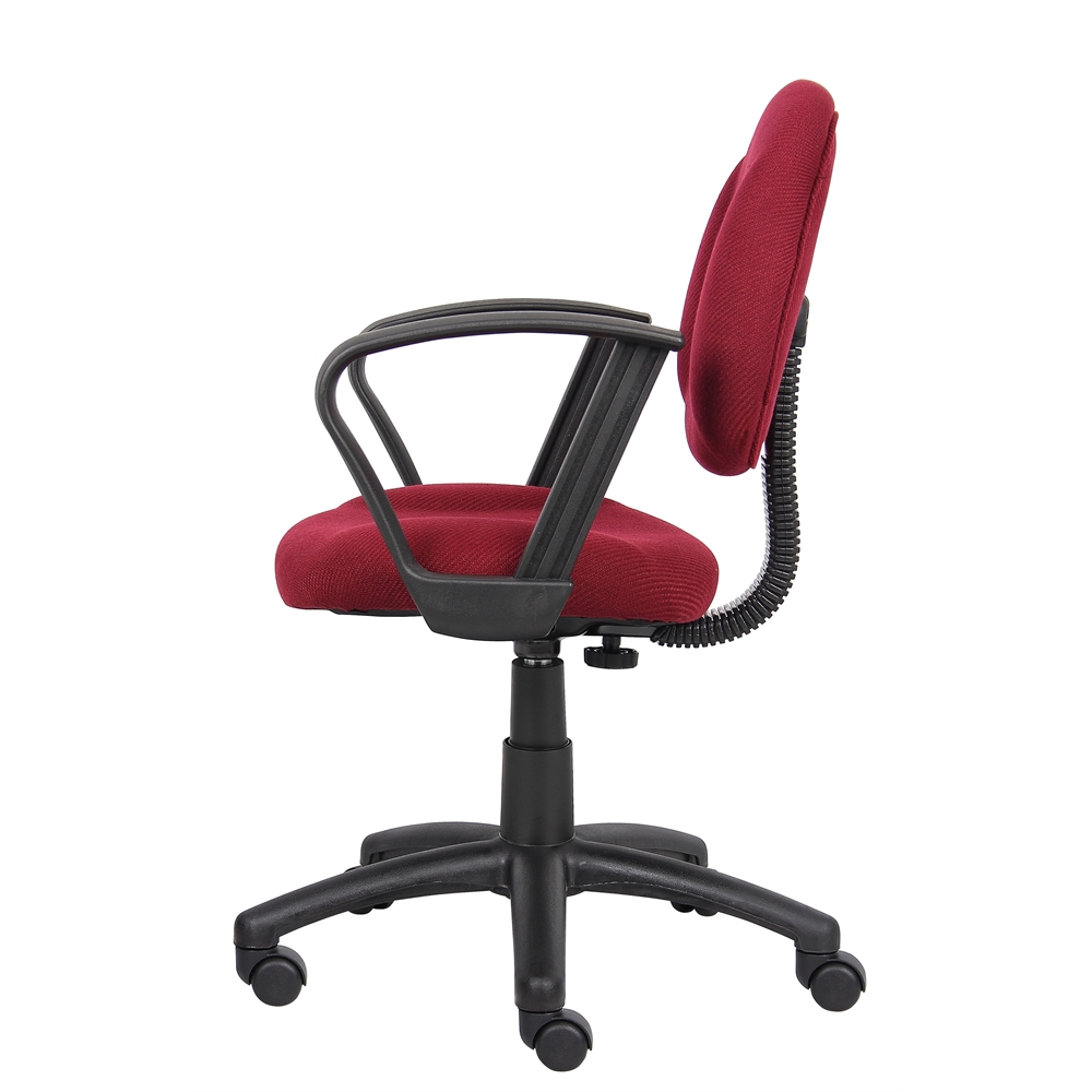 Boss Burgundy  Deluxe Posture Chair W/ Loop Arms. Picture 4