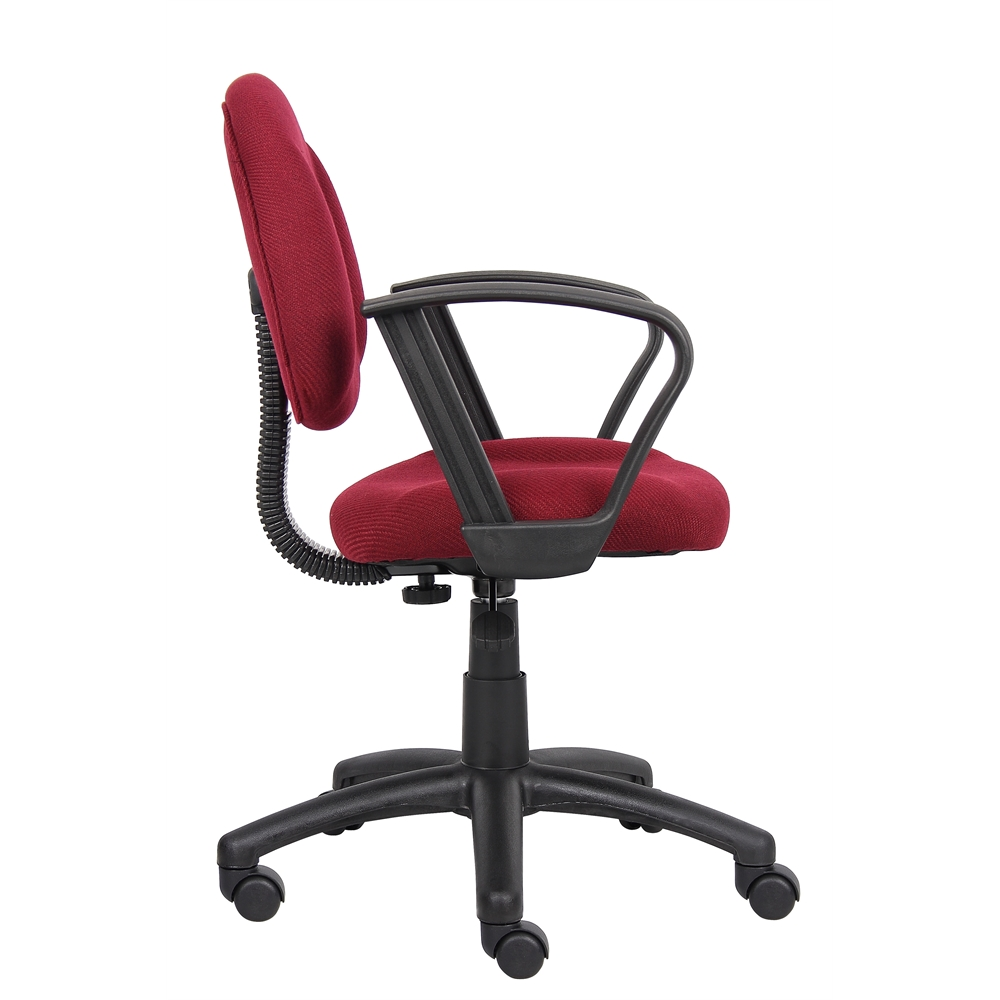 Boss Burgundy  Deluxe Posture Chair W/ Loop Arms. Picture 5