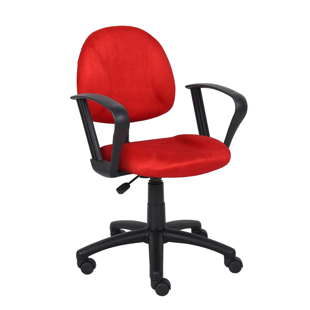 Boss Red Microfiber Deluxe Posture Chair W/ Loop Arms.. Picture 4