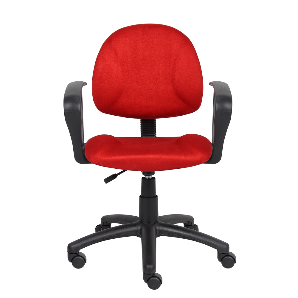 Boss Red Microfiber Deluxe Posture Chair W/ Loop Arms.. Picture 2