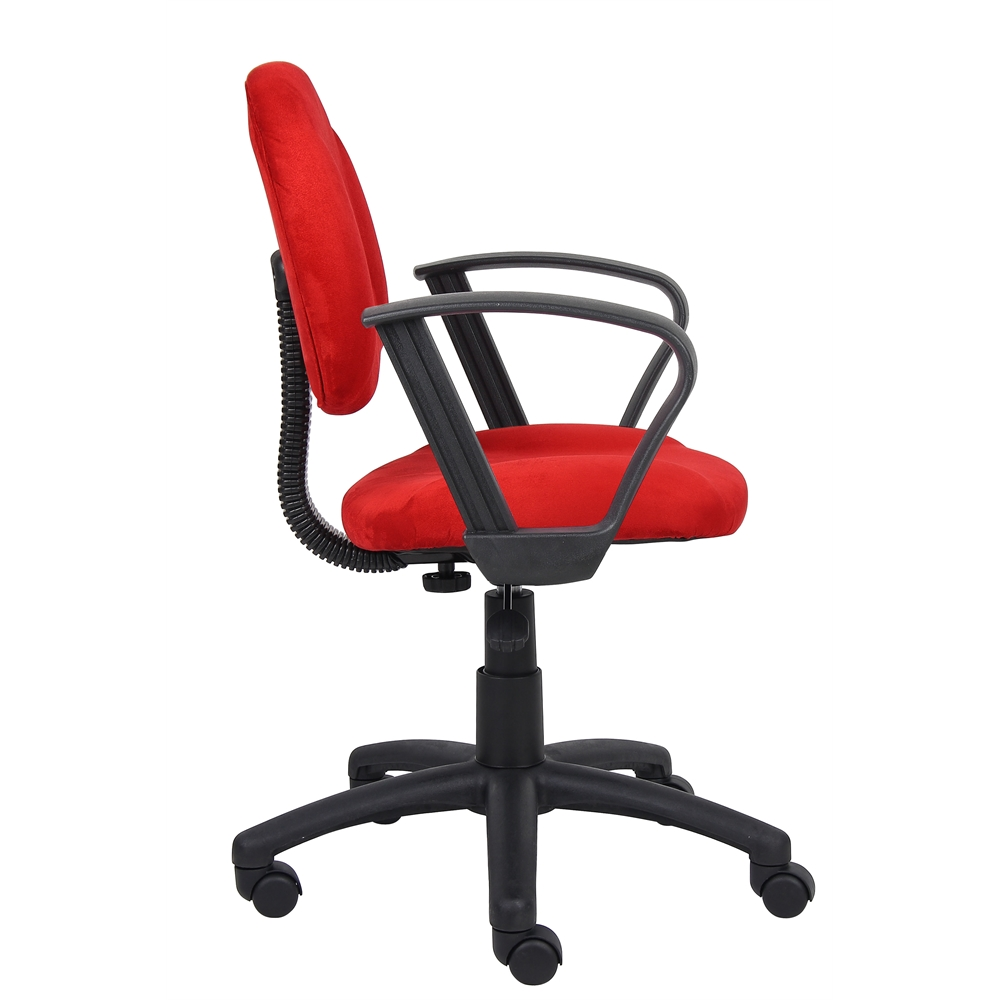 Boss Red Microfiber Deluxe Posture Chair W/ Loop Arms.. Picture 3