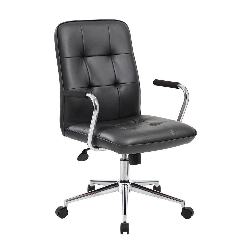 Boss Modern Office Chair w/Chrome Arms - Black. Picture 1