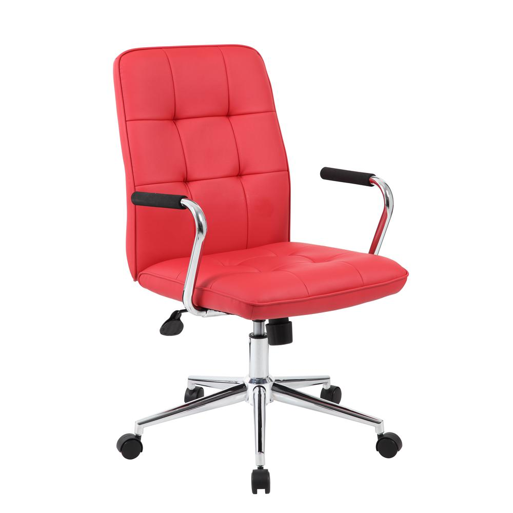 Boss Modern Office Chair w/Chrome Arms - Red. Picture 1