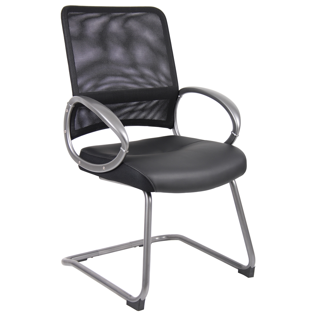 Boss Mesh Back W/ Pewter Finish Guest Chair. Picture 1