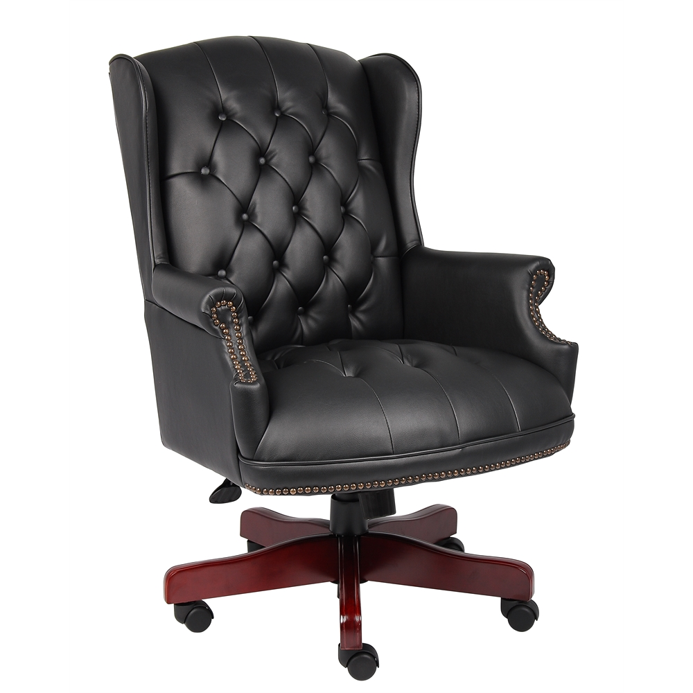Boss Wingback Traditional Chair In Black. Picture 1