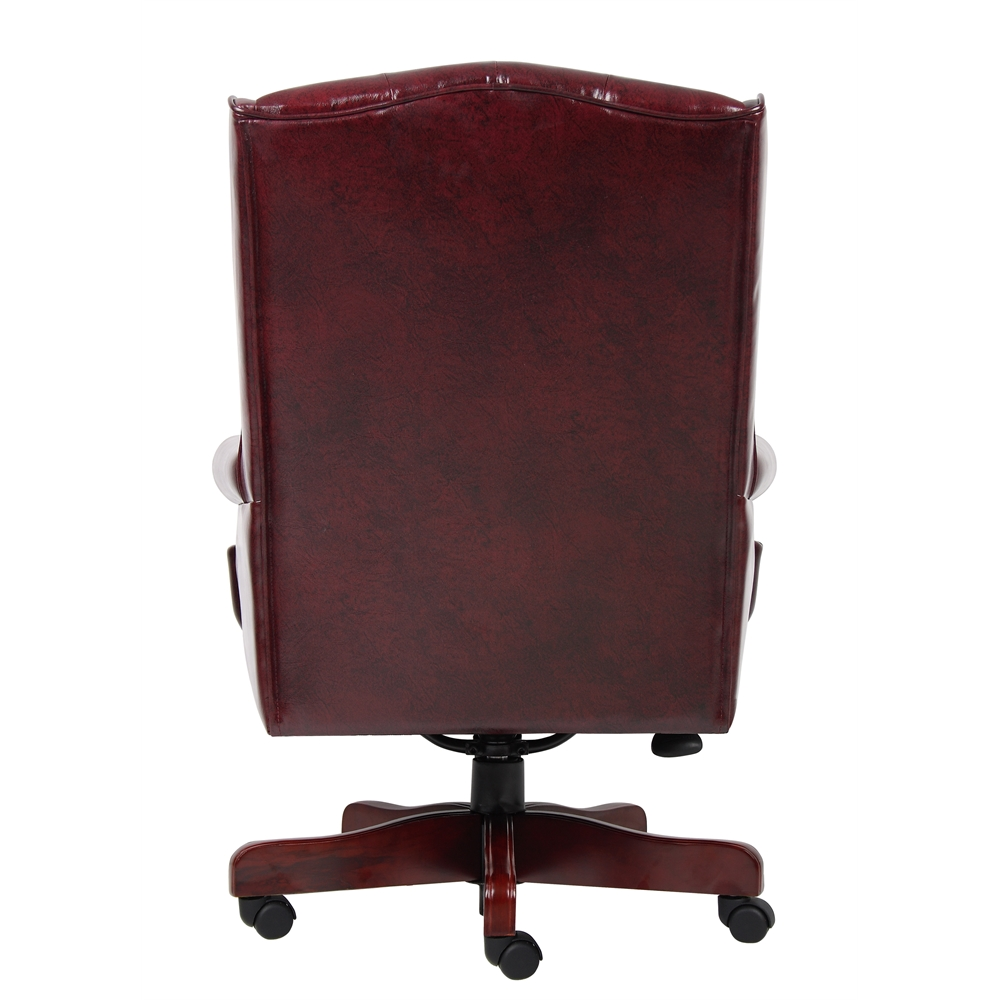 Boss Wingback Traditional Chair In Burgundy. Picture 2