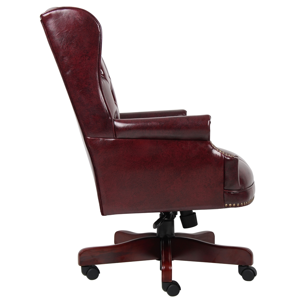Boss Wingback Traditional Chair In Burgundy. Picture 4