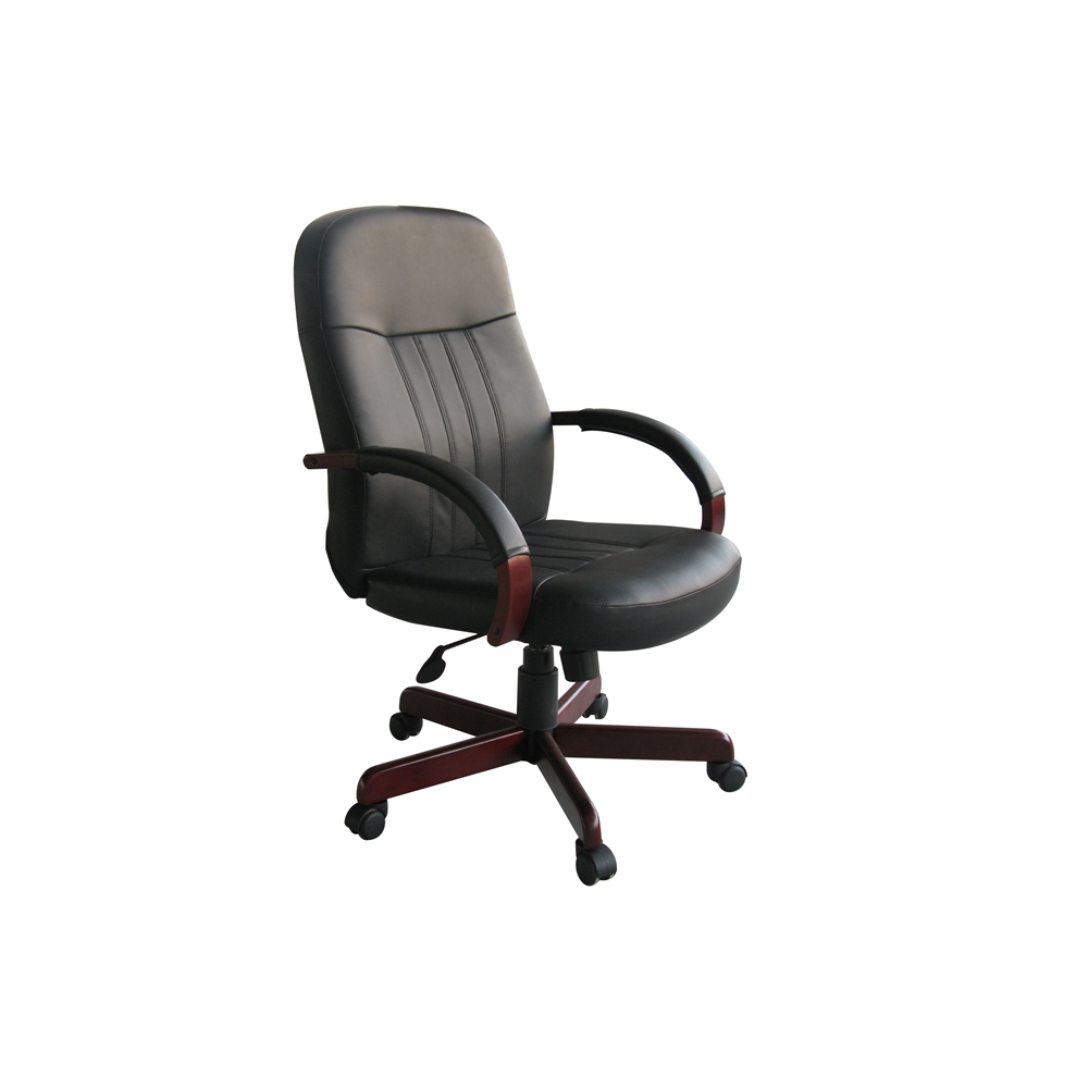 Boss LeatherPlus Exec. Chair W/ Mahogany Finish. Picture 2