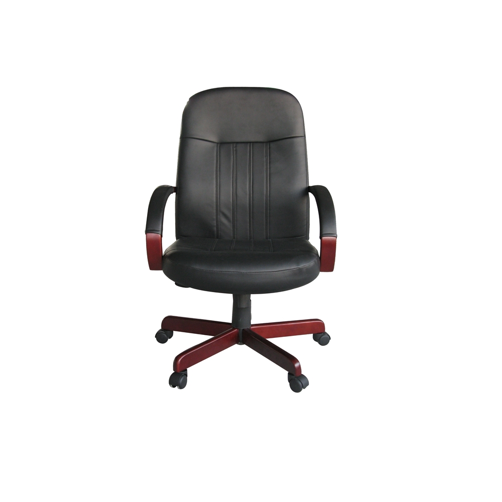 Boss LeatherPlus Exec. Chair W/ Mahogany Finish. Picture 1