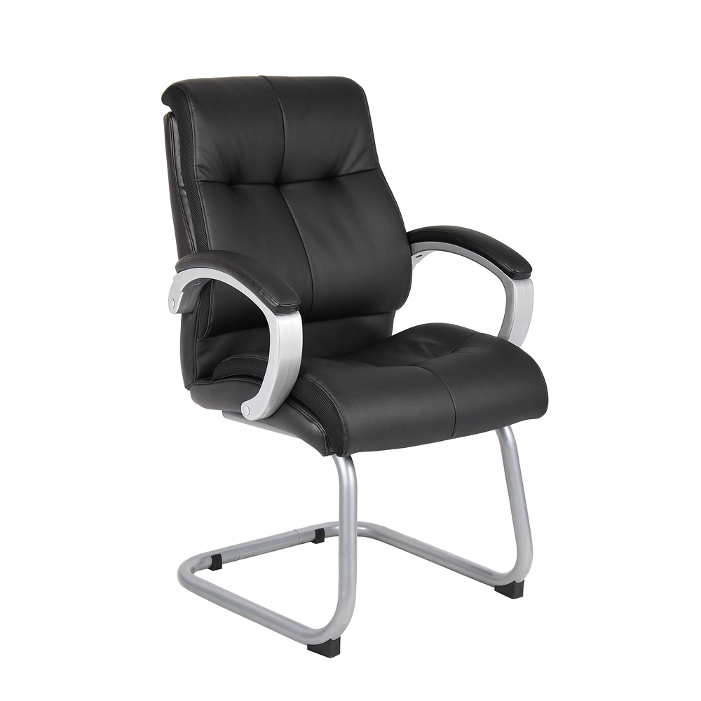 Boss Double Plush Executive Guest Chair - Black. Picture 1
