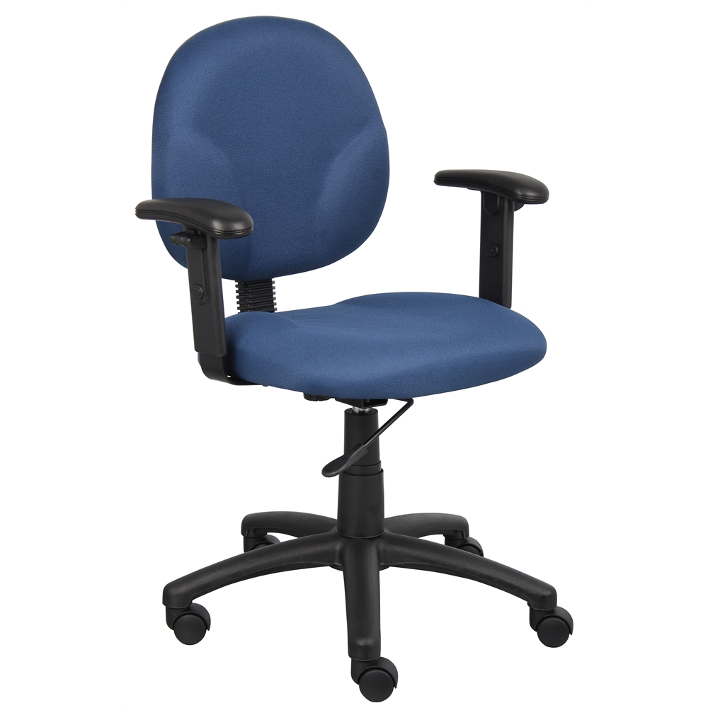 Boss Diamond Task Chair In Blue W/ Adjustable Arms. Picture 1