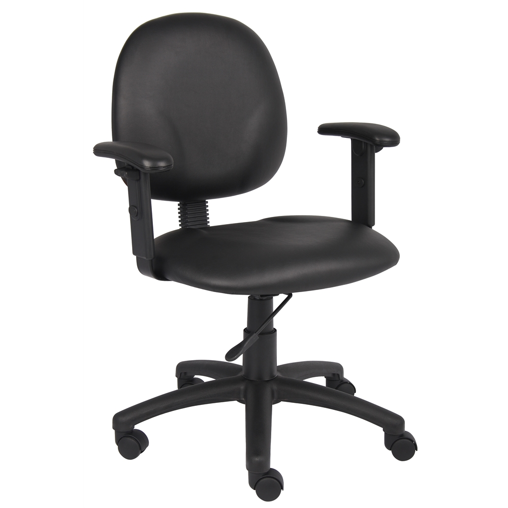 Boss Diamond Task Chair In Black Caressoft W/ Adjustable Arms. Picture 1