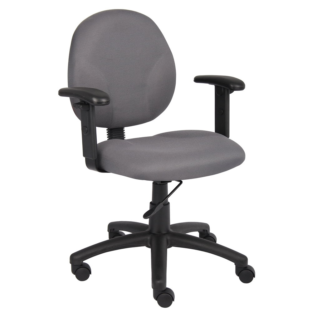 Boss Diamond Task Chair In Grey W/ Adjustable Arms. Picture 1