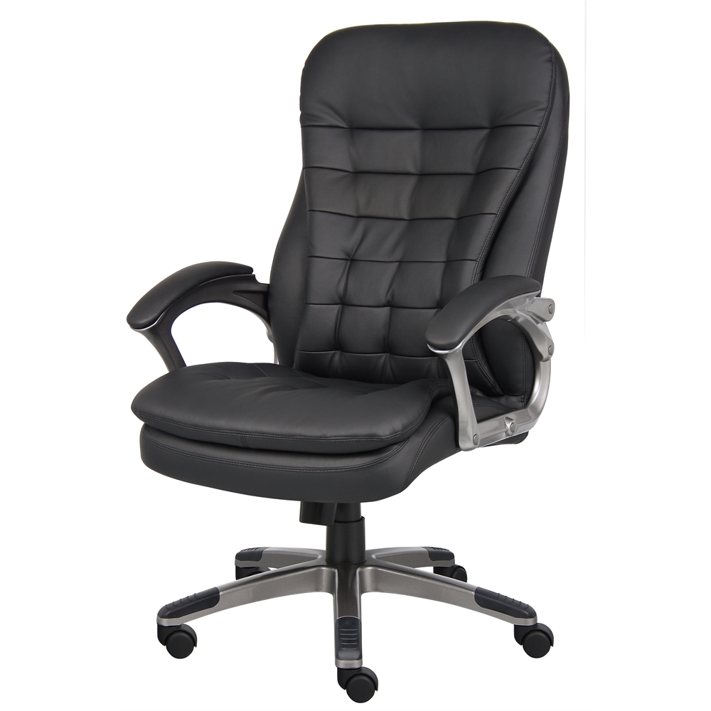 Boss High Back Executive Chair With Pewter Finished Base Arms