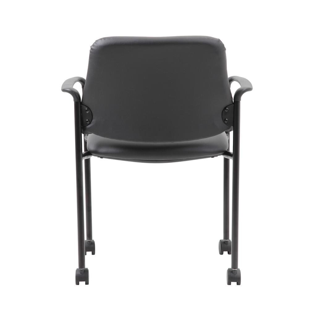 Boss Square Back  Diamond Stacking Chair W/Arm In Black Caressoft. Picture 3