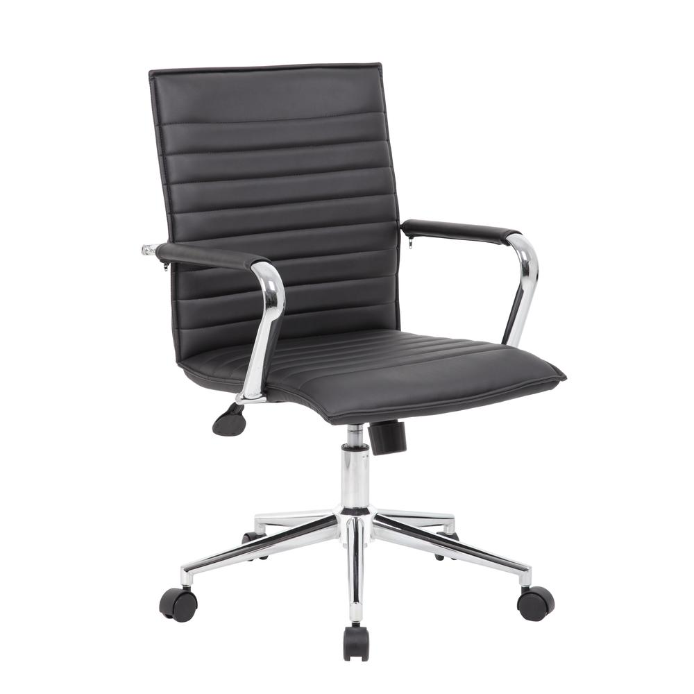 Boss Black Vinyl Hospitality Chair. Picture 6