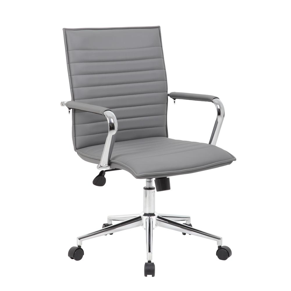 Boss Grey Vinyl Hospitality Chair. Picture 6