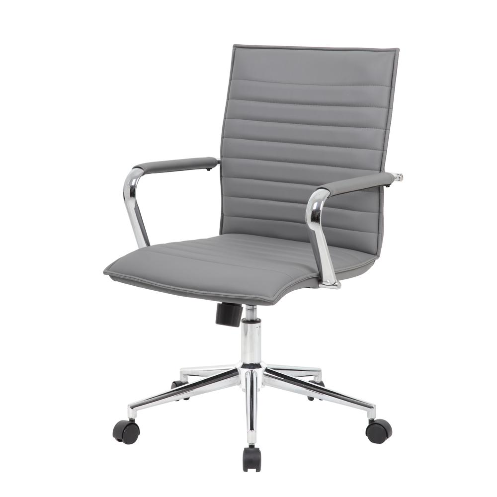 Boss Grey Vinyl Hospitality Chair. Picture 1