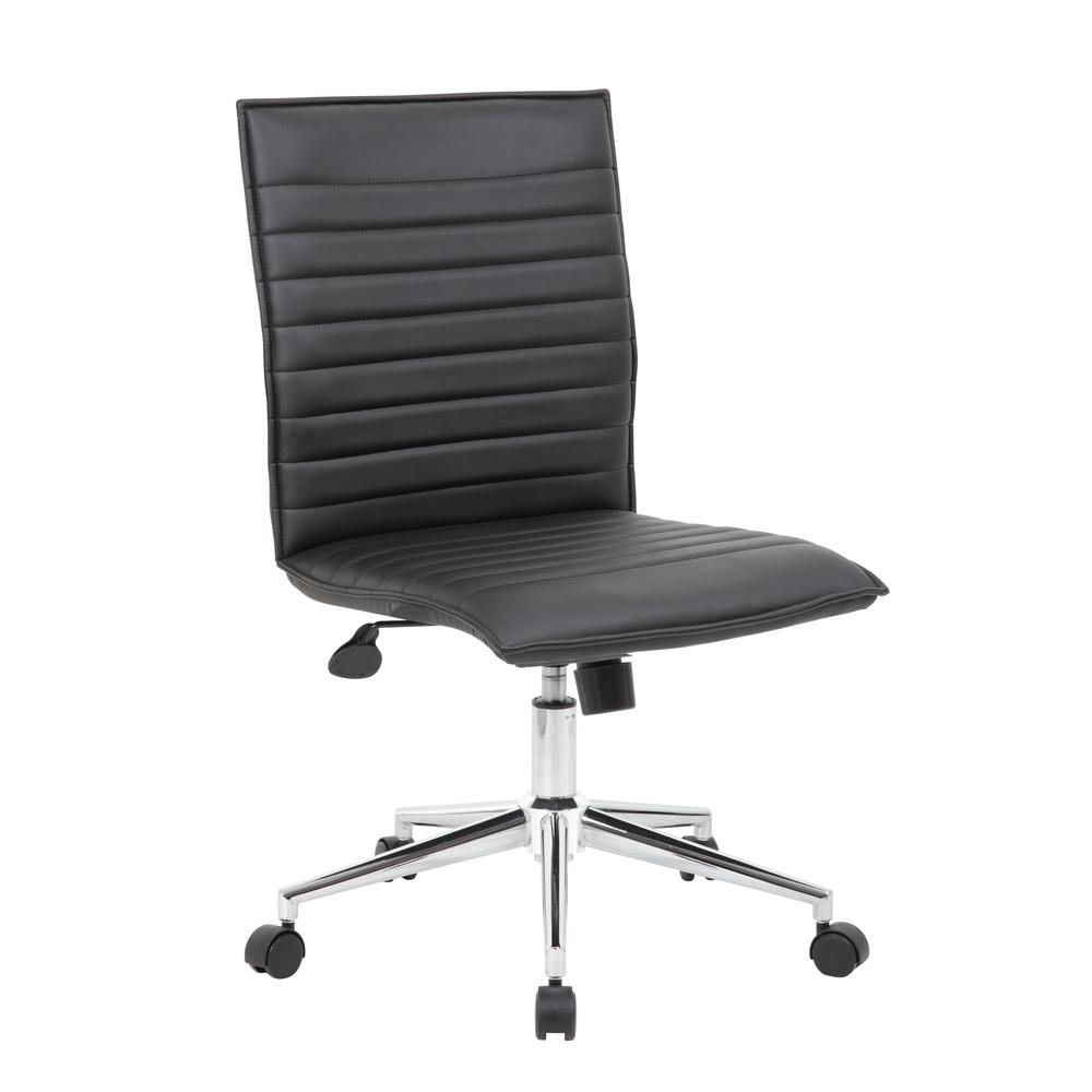 Boss Black Vinyl Armless Hospitality Chair. Picture 6