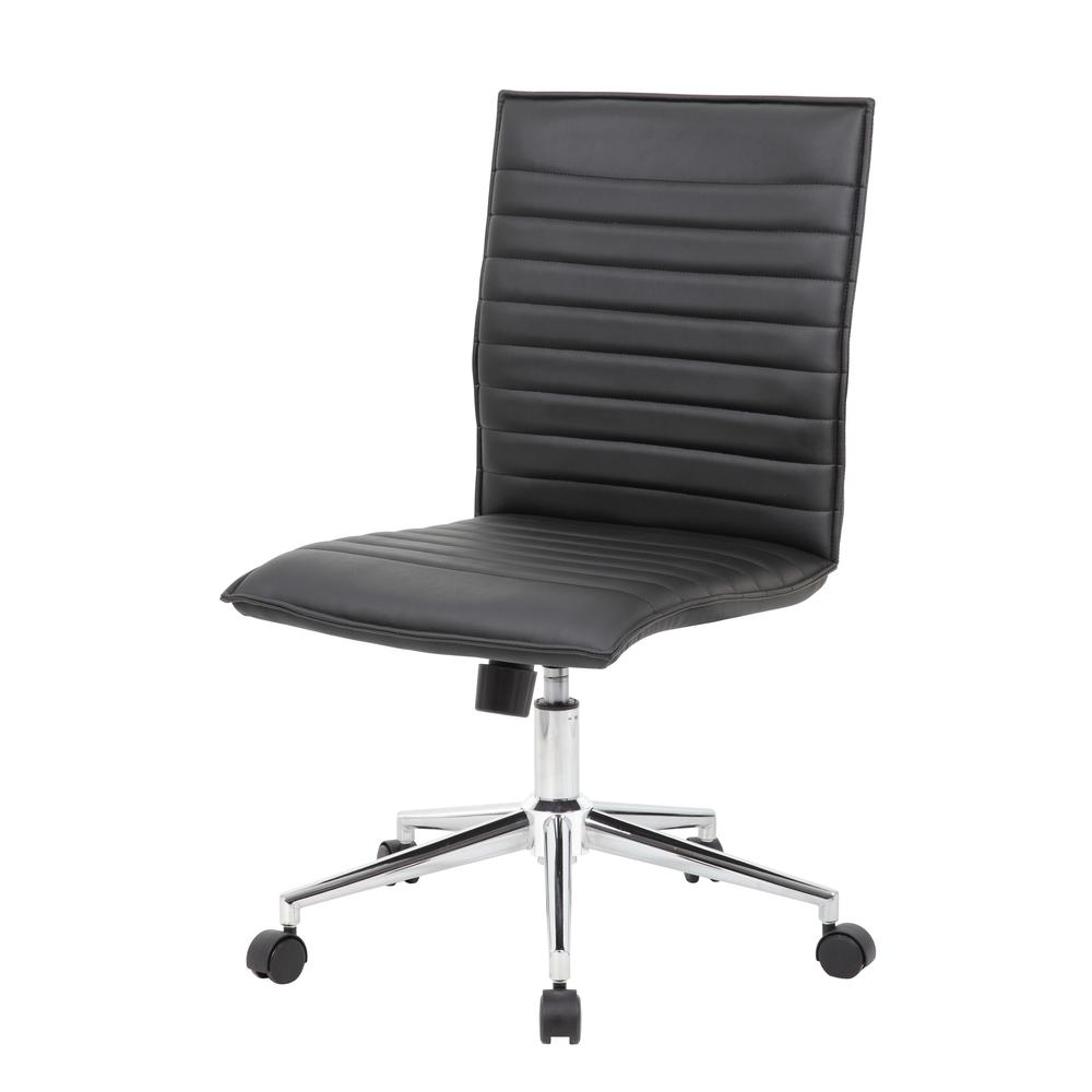 Boss Black Vinyl Armless Hospitality Chair. Picture 1