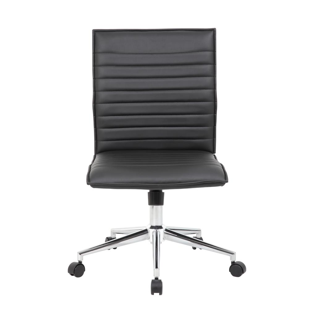 Boss Black Vinyl Armless Hospitality Chair. Picture 2