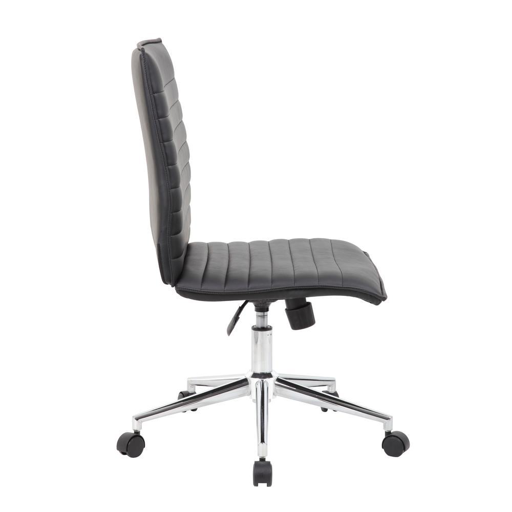 Boss Black Vinyl Armless Hospitality Chair. Picture 3