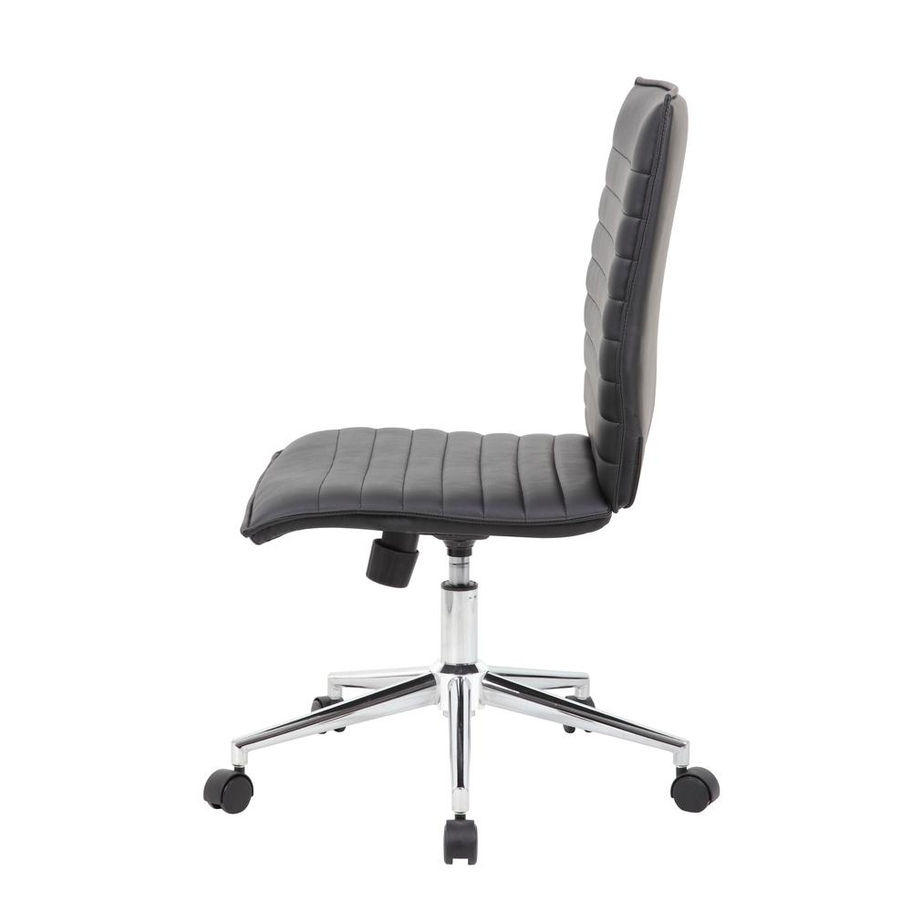 Boss Black Vinyl Armless Hospitality Chair. Picture 5