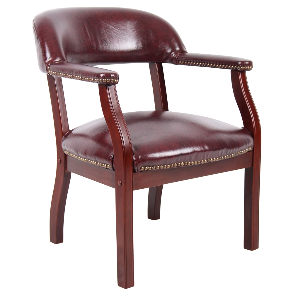 Boss Captain's Chair In Burgundy Vinyl. Picture 1