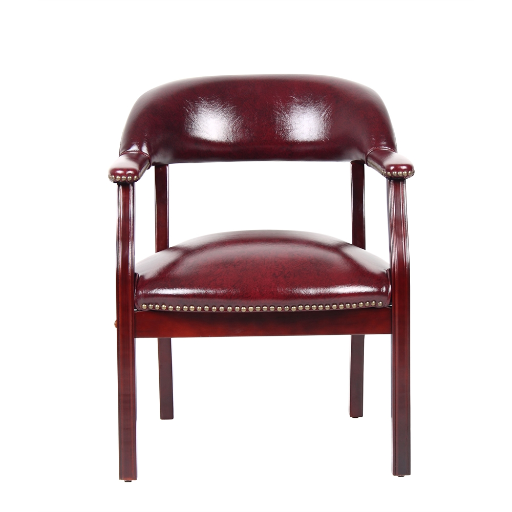 Boss Captain's Chair In Burgundy Vinyl. Picture 3