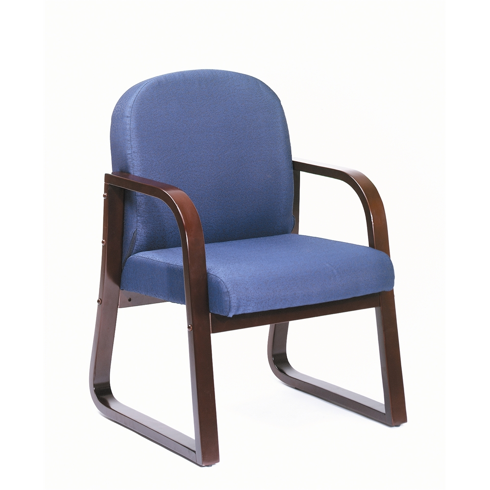 Boss Mahogany Frame Side Chair In Blue Fabric. Picture 4