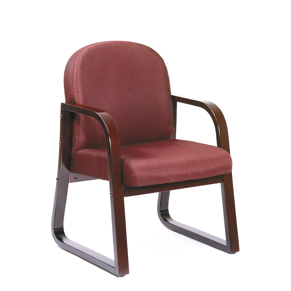 Boss Mahogany Frame Side Chair In Burgundy Fabric. Picture 4