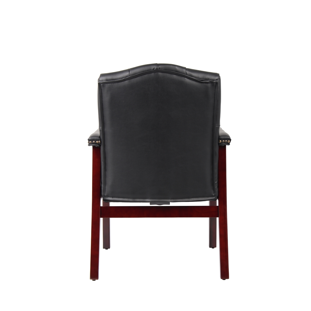 Boss Traditional Black Caressoft Guest Chair W/ Mahogany Finish