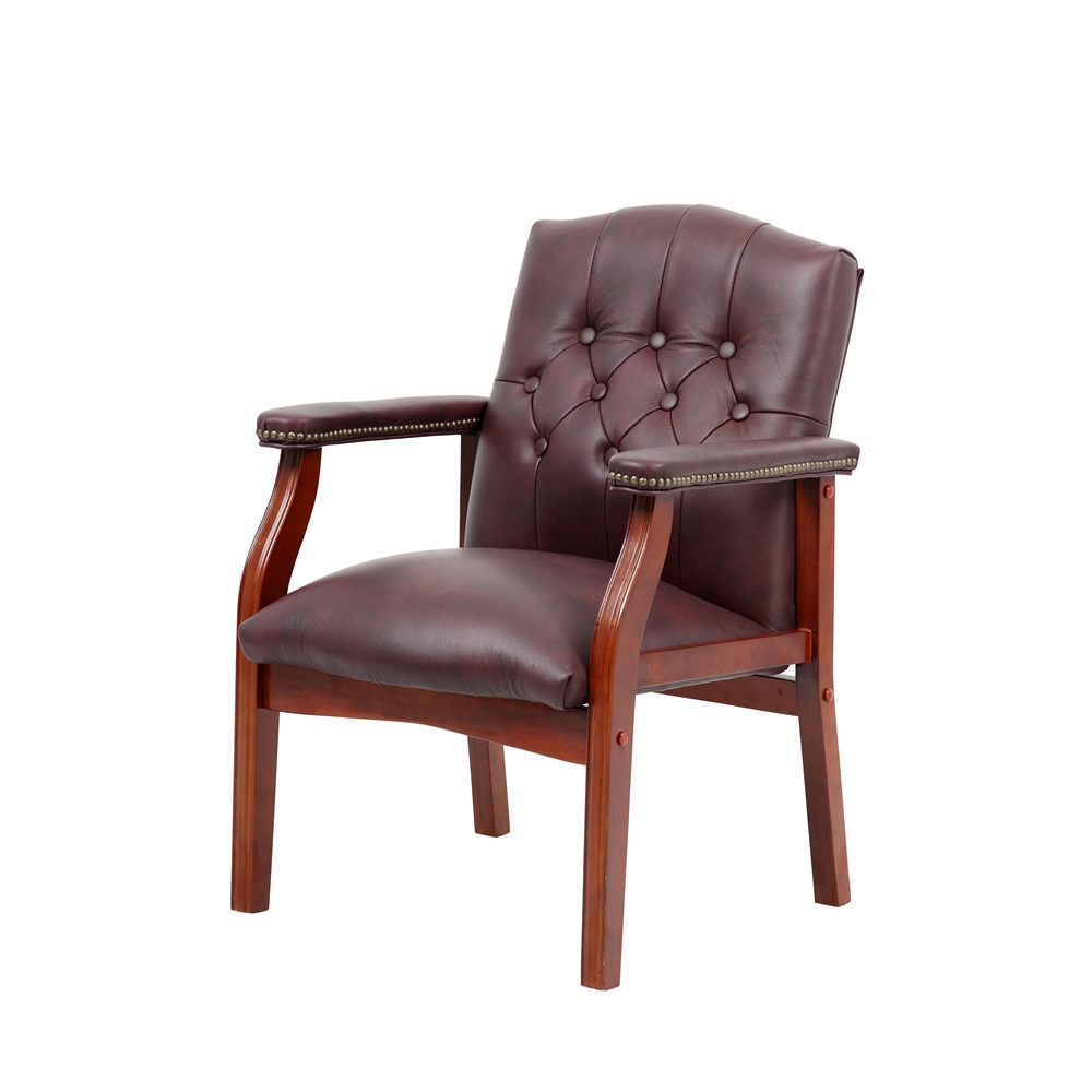Boss Traditional Burgundy Leather Guest Chair W Cherry Finish
