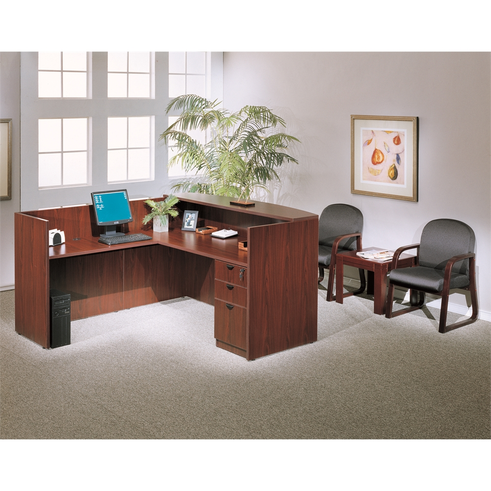 Boss Reception Desk, 71W X 30/36D X 42H, Mahogany. Picture 2