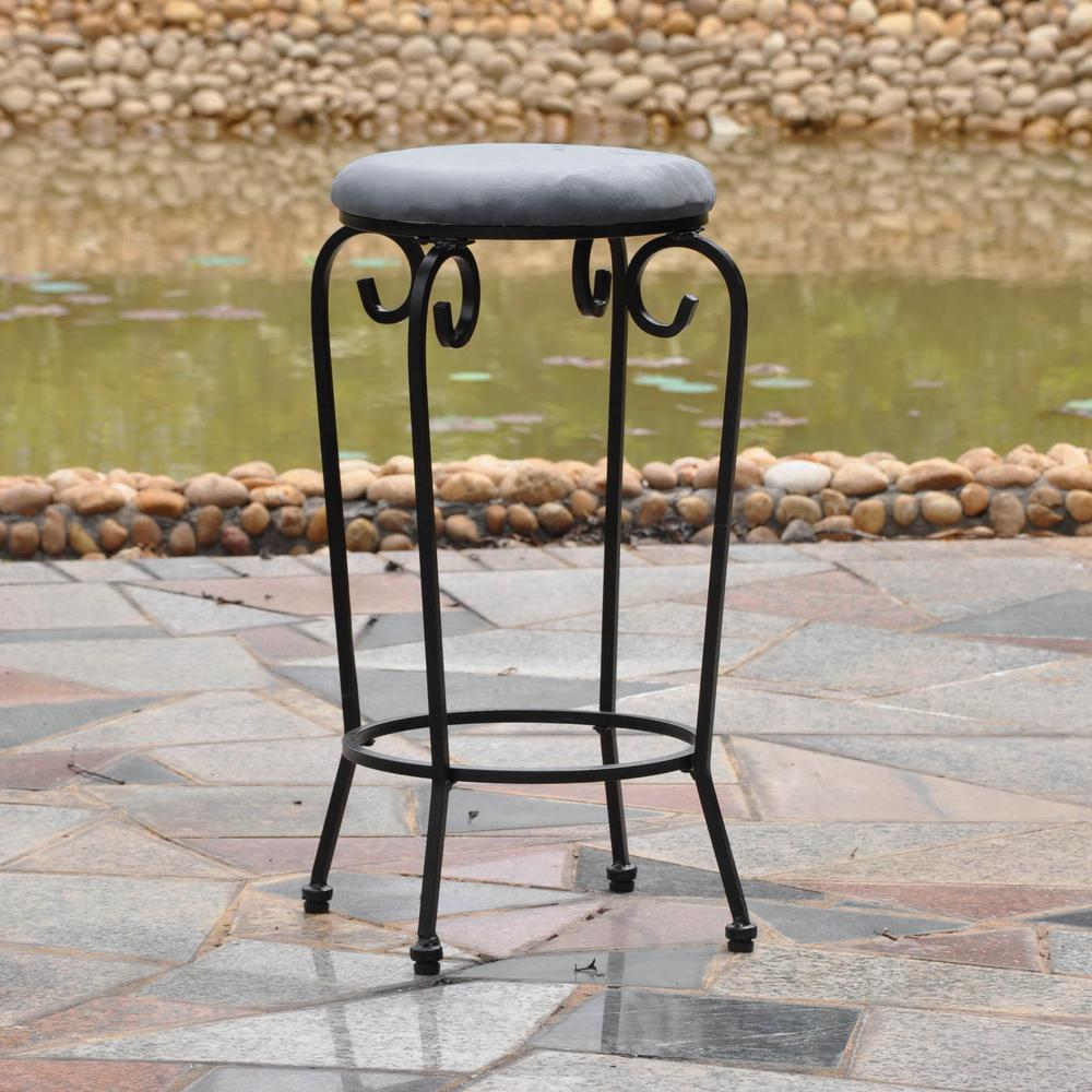 Set Of Two Iron29 Inch Upholstered Barstool