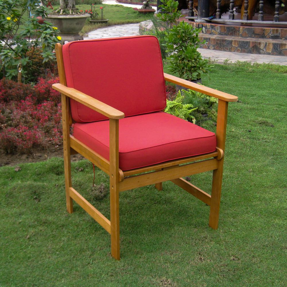 Set of Two Royal Tahiti Gulf Port Arm Chair with Ruby Red Cushions. Picture 1