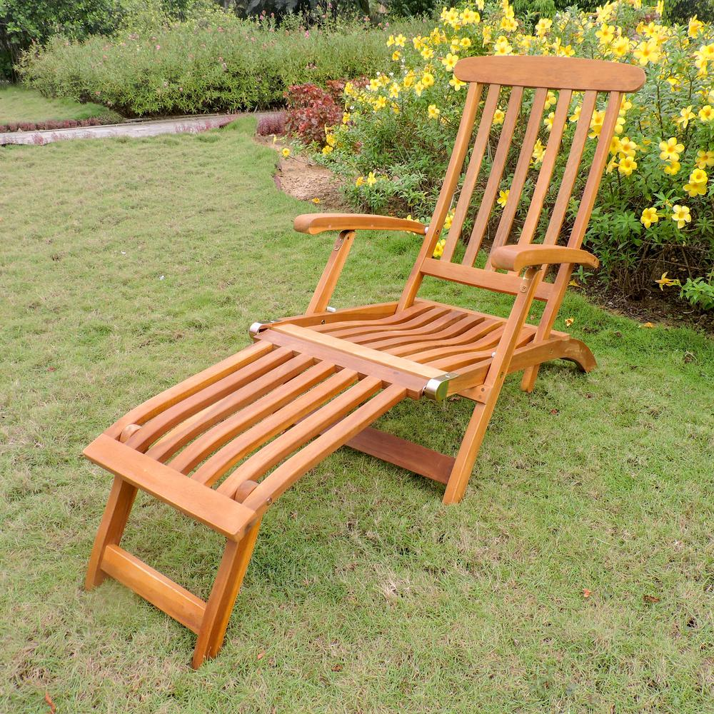 Royal Fiji Acacia Traditional Steamer Deck Lounger. Picture 1