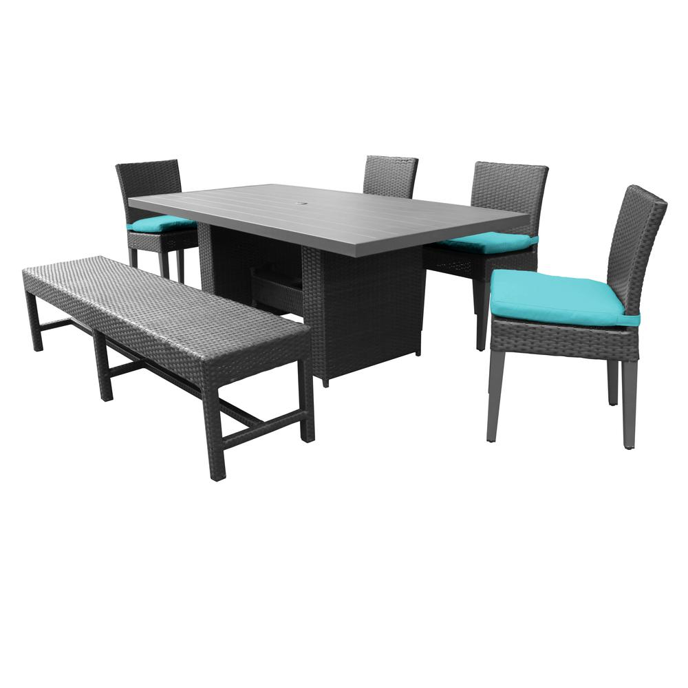 Rectangle Dining Table With Bench: Belle Rectangular Outdoor Patio Dining Table With 4 Chairs