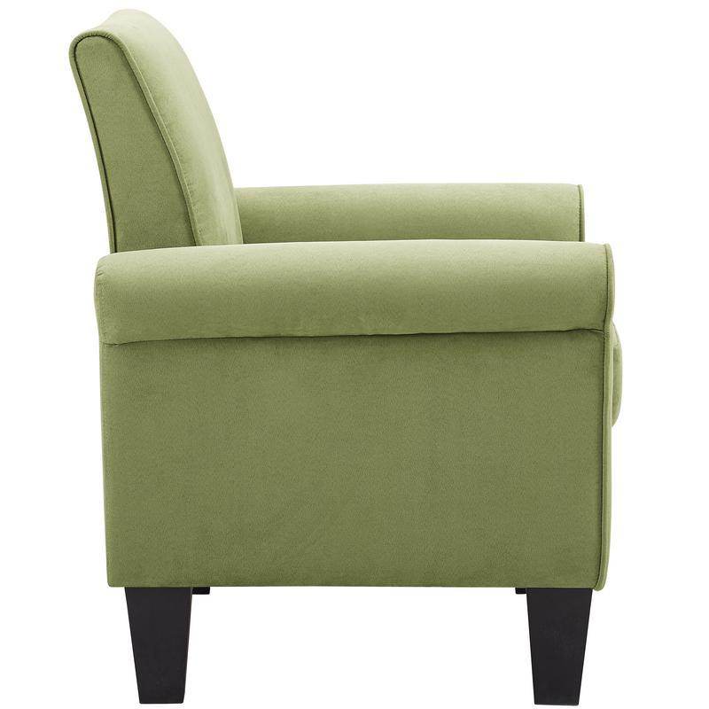 Angelo Green Microfiber Fabric Armchair. Picture 2