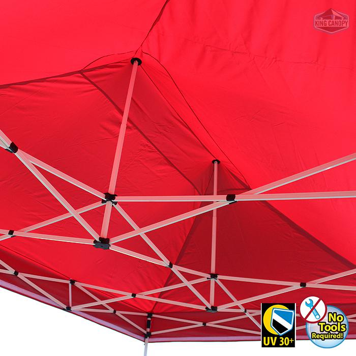 TUFF TENT WHITE Frame 10X15 Instant Pop Up Tent w/ RED Cover
