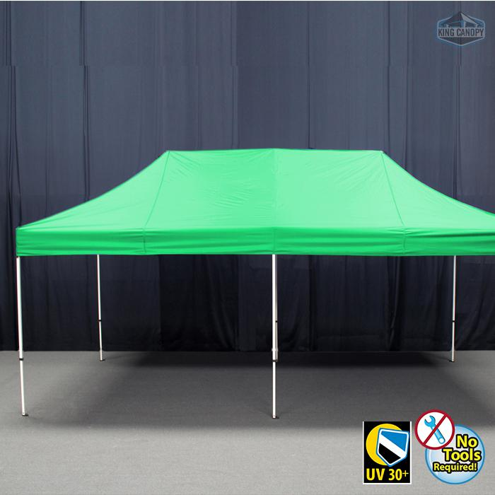 TUFF TENT WHITE Frame 10X20 Instant Pop Up Tent w/ GREEN Cover